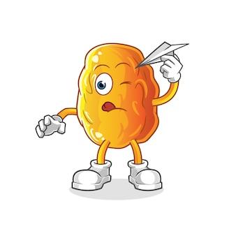 Encontro amarelo com mascote de desenho de avião de papel