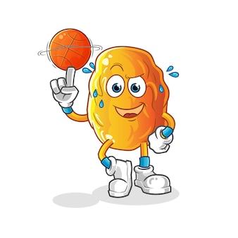 Encontro amarelo jogando desenho animado do mascote do basquete
