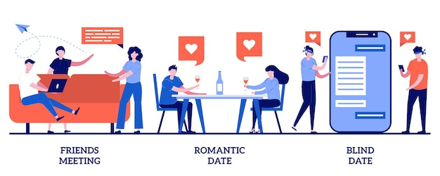 Encontro de amigos, encontro romântico e às cegas. conjunto de hangouts, tempo de lazer, alma gêmea