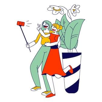 Encontro de namoradas. meninas fazendo selfie no smartphone para postar em redes de internet. ilustração plana dos desenhos animados