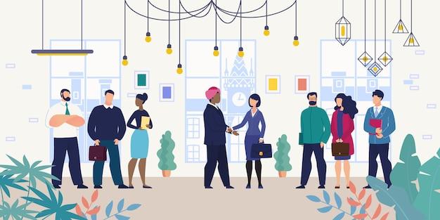 Encontro de negócios para negociações com parceiro estrangeiro