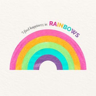 Encontro felicidade na mensagem de arco-íris com arco-íris aquarela
