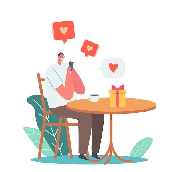 Encontro on-line, personagem masculino conversando via aplicativo de smartphone, enviando mensagens para mulher nas mídias sociais rede de internet, relacionamento moderno, site de namoro. ilustração em vetor desenho animado
