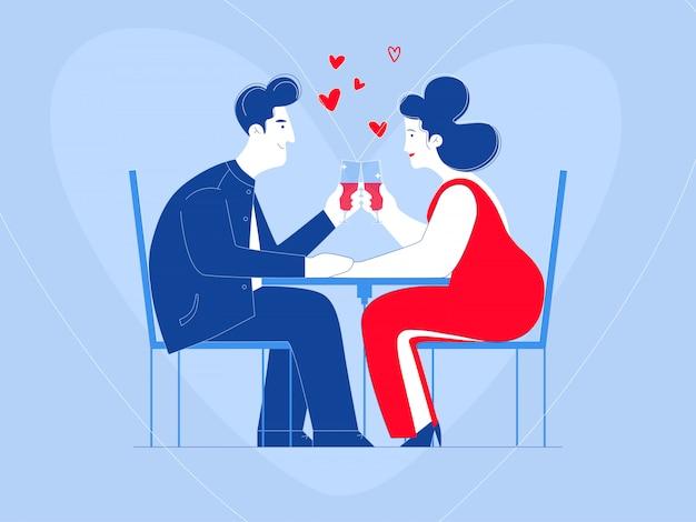 Encontro romântico à luz de velas. dia dos namorados saudações