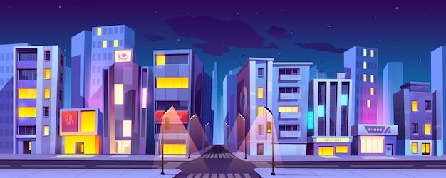 Encruzilhada da cidade à noite, cruzamento de transporte