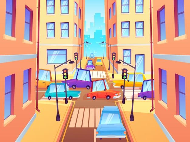 Encruzilhada da cidade com carros. interseção de tráfego rodoviário, congestionamento de carros de rua da cidade e faixa de pedestres com ilustração dos desenhos animados de semáforos