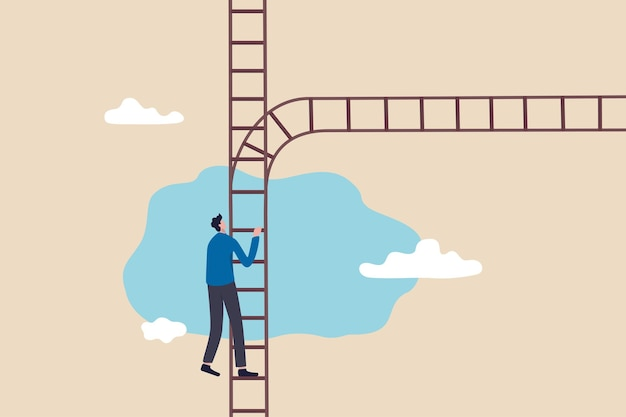 Encruzilhada de carreira para tomar decisões, escolha de negócios ou alternativa, escolha a carreira para ter sucesso no trabalho, conceito de múltiplas oportunidades, empresário sobe a escada do sucesso para encontrar a encruzilhada do destino