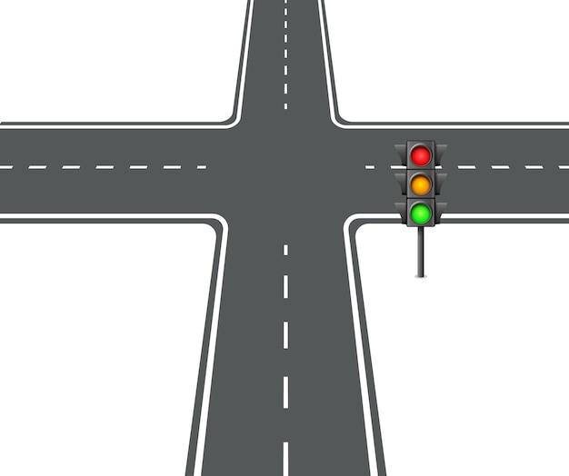 Encruzilhada ver ilustração em vetor luz de tráfego de interseção plana.