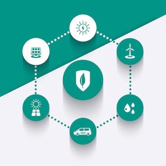 Energética alternativa, tecnologias ecológicas verdes, ícones redondos