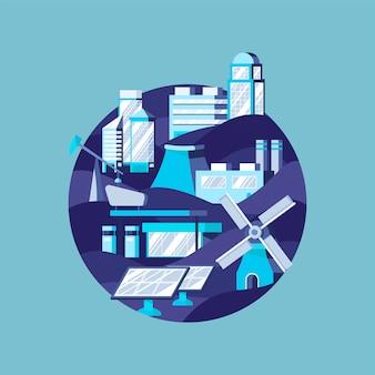 Energia alternativa em azul
