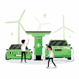 Energia alternativa ou verde apresenta pessoas carregando eletricidade para seus carros