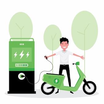 Energia alternativa ou verde apresenta um homem carregar a eletricidade em sua scooter