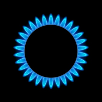Energia azul da chama do gás. queimador de fogão a gás para cozinhar. fogo, calor, butano ou propano, poder natural.