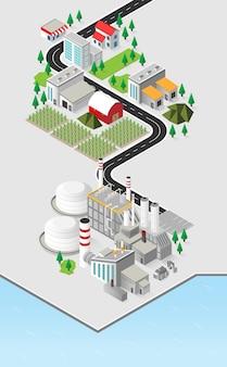 Energia de biocombustível, usina de biocombustível com gráfico isométrico