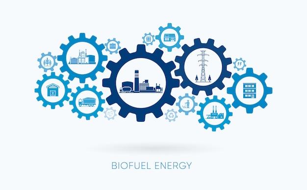 Energia de biocombustível, usina de biocombustível com ícone de engrenagem