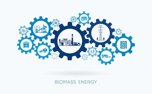Energia de biomassa, usina de biomassa com ícone de engrenagem