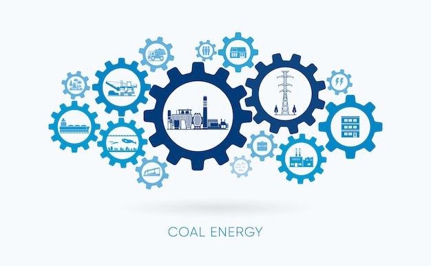 Energia de carvão, usina de carvão com ícone de engrenagem