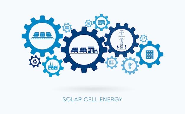 Energia de célula solar, usina de célula solar com ícone de engrenagem