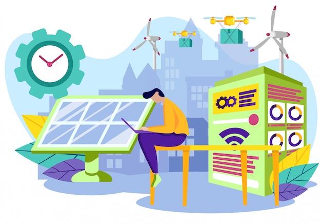 Energia de fonte de energia para bateria solar industrial.