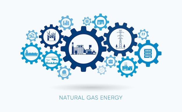 Energia de gás natural, usina de gás natural com ícone de engrenagem