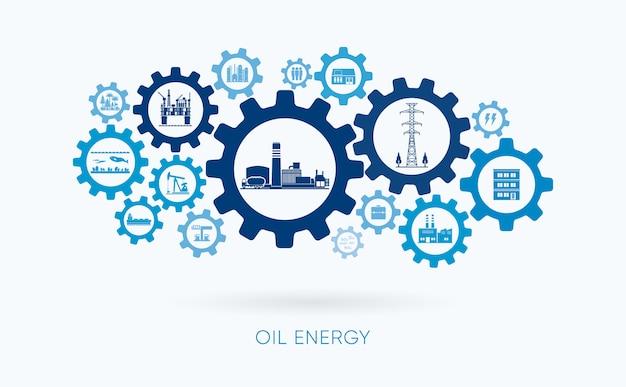 Energia de óleo, usina de óleo com ícone de engrenagem