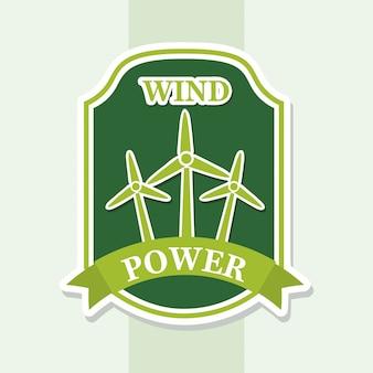 Energia eólica sobre ilustração vetorial de fundo verde