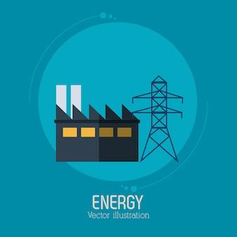 Energia fábrica torre eletricidade símbolo azul fundo