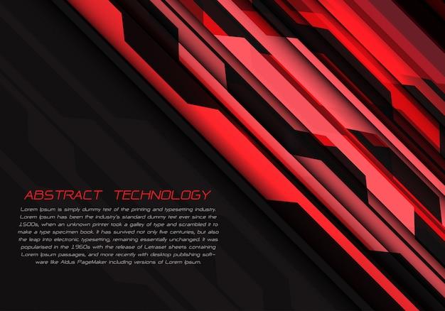 Energia luminosa geométrica do circuito vermelho no fundo futurista preto.
