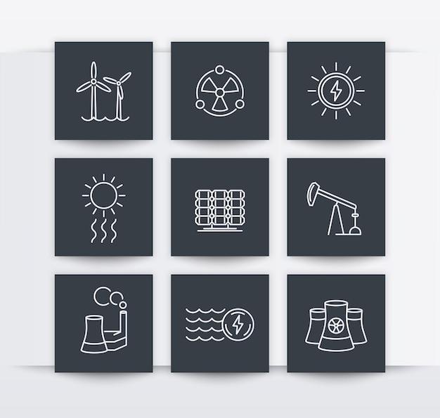 Energia, produção de energia, energética, indústria elétrica, ícones quadrados de linha, ilustração vetorial