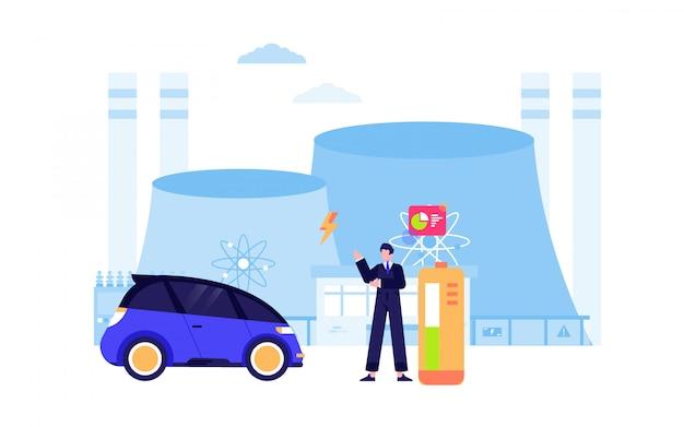 Energia renovável moinho vento nuclear painel solar eletricidade design plano ilustração vetorial