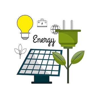 Energia solar com cabo de energia e bulbo