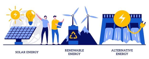 Energia solar, energia renovável, conceito de energia alternativa com pessoas minúsculas. inovações ecológicas, tecnologia sustentável, painéis solares e turbinas eólicas usam um conjunto de ilustração vetorial abstrato.