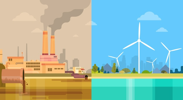 Energia verde ambiental limpa e poluída da cidade suja