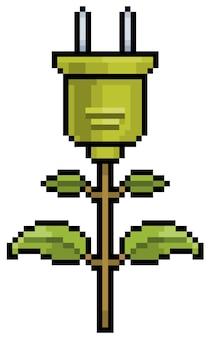 Energia verde de tomada de planta de pixel art e ícone ecológico para jogo de 8 bits em fundo branco