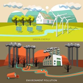 Energia verde e banners de poluição ambiental
