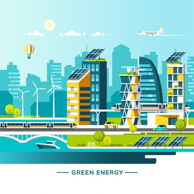 Energia verde e cidade amiga do ambiente. paisagem urbana com casas modernas e transportes da cidade.