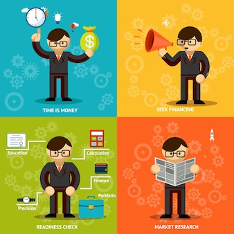 Enfatizando negócios. tempo e dinheiro. arrecadação de fundos e pesquisa