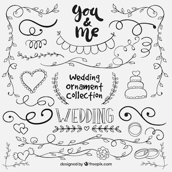 Enfeite de casamento de mão desenhada collectio