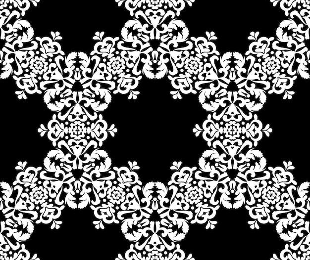 Enfeite de flor de renda branca em um fundo preto textura de renda elegante sem costura preto e branco