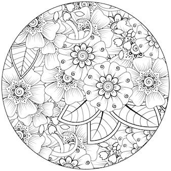 Enfeite de flor mehndi em estilo étnico