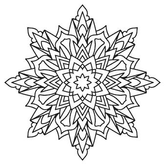 Enfeite de laço circular, mandala geométrica em preto e branco redonda e ornamental