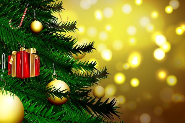Enfeite de natal e árvore de natal com fundo dourado bokeh
