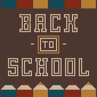 Enfeite de volta à escola na textura de malha de lã.