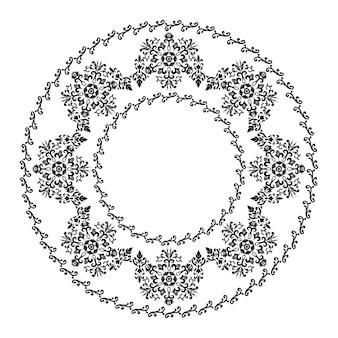 Enfeite redondo elegante para o design de molduras menus convites de casamento preto e branco