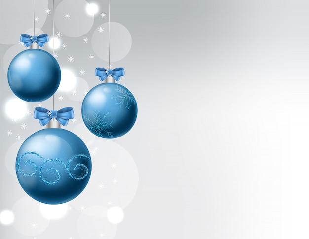 Enfeites azuis com desenhos de enfeites de natal