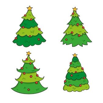 Enfeites de árvore de natal desenhados à mão