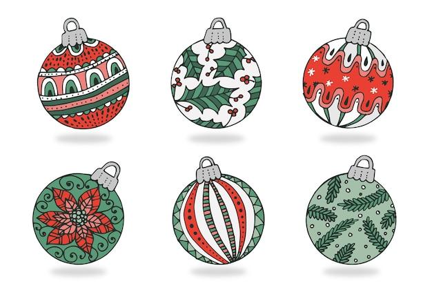 Enfeites de bola de natal desenhados à mão