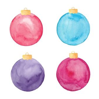 Enfeites de bola de natal em aquarela isolados. conjunto de enfeites de natal pintados.