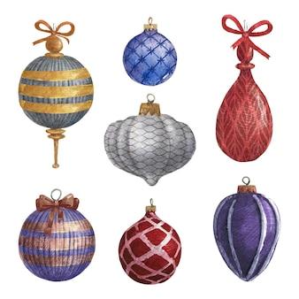 Enfeites de bola de natal em aquarela