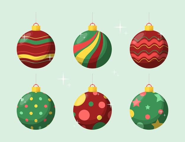 Enfeites de bola de natal em design plano